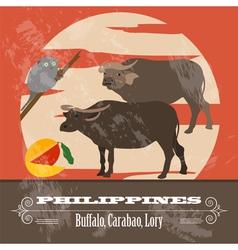Philippines landmarks retro styled image vector