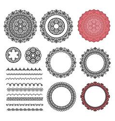 set elements from round mandala frames brushes vector image vector image