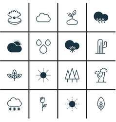 Set of 16 harmony icons includes sprout cold vector