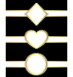 Set of golden ribbons with banners vector
