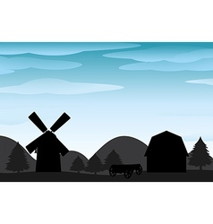 Silhouette farm vector