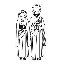 Silhouette virgin mary and saint joseph praying vector