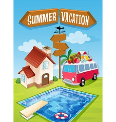 Summer vacation sign with van and pool vector image