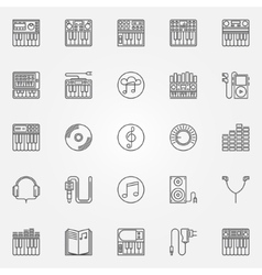 Synthesizer linear icons vector