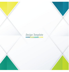 template triangle design green yellow blue vector image