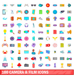 100 camera and film icons set cartoon style vector