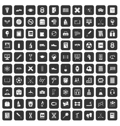 100 college icons set black vector