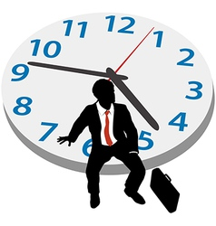 Business man wait appointment time clock vector