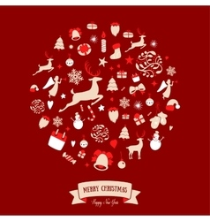 Christmas round ornaments design merry card vector
