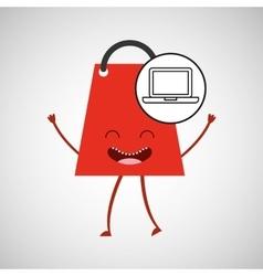 bag shopping concept laptop commerce design vector image