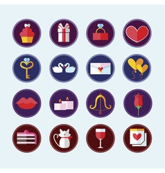 Valentines day colorful icons love holiday vector