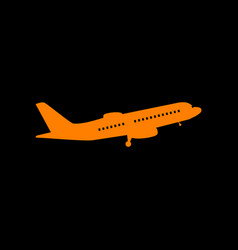 flying plane sign side view orange icon on black vector image