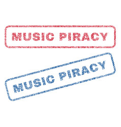 Music piracy textile stamps vector
