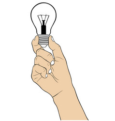 Hand holding a light bulb vector