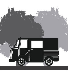 Silhouette truck delivery rural background vector