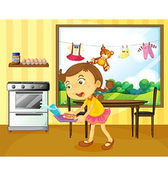 A young girl holding a tray with foods vector