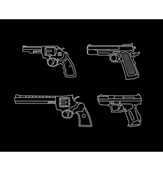 Pistols and revolvers vector