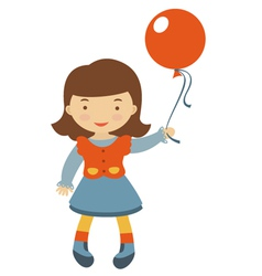 Little girl with ballons vector image