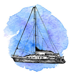 sketch of yacht vector image