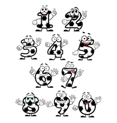 Soccer numbers cartoon characters vector