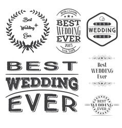 Set of best wedding ever labels vector