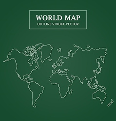 World map white outline stroke on green background vector