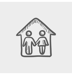 Couple house sketch icon vector