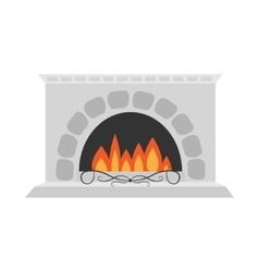 Fireplace isolated flat design white background vector