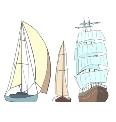 Sailing yachts vector