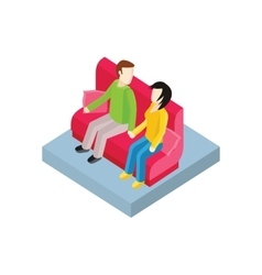 Couple on bench isometric design vector