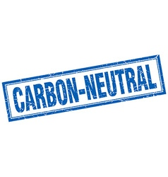 Carbon-neutral blue square grunge stamp on white vector