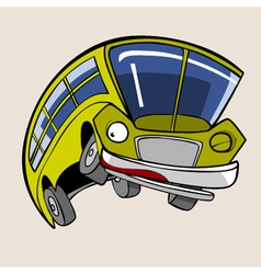 Cartoon character cheerful yellow bus jump vector