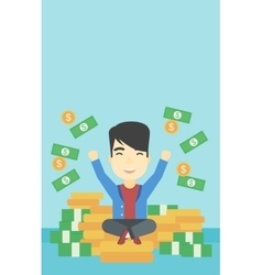 Happy businessman sitting on coins vector