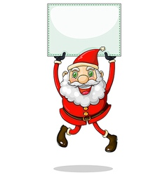 A smiling Santa Claus holding an empty signage vector image vector image