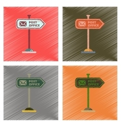 assembly flat shading style icons sign post office vector image