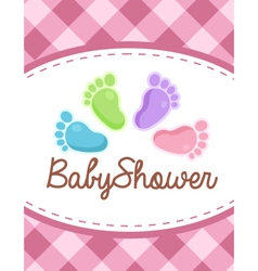 Baby shower colorful feet vector