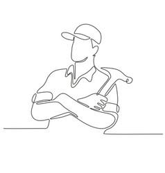 Builder carpenter continuous line vector