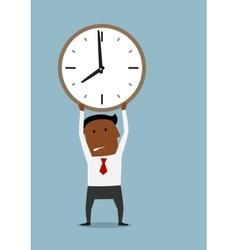 Cartoon businessman under pressure of deadline vector