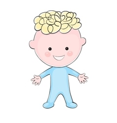 Cartoon little boy on white background vector