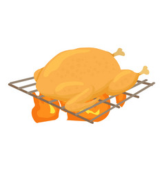 Chiken cooked on a barbecue icon cartoon style vector