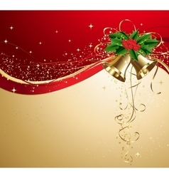 Christmas card with gold bells and holly vector