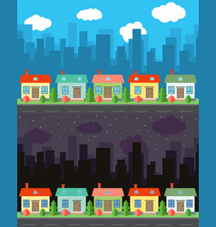 City with four one-story cartoon houses vector