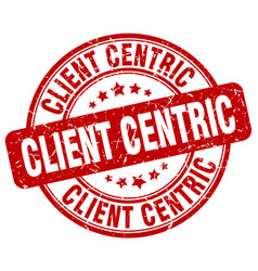 Client centric red grunge stamp vector