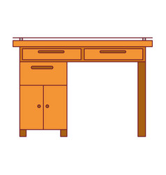 Colorful graphic of wooden home desk with dark red vector