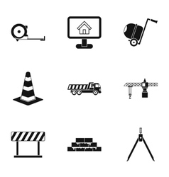 Construction tools icons set simple style vector