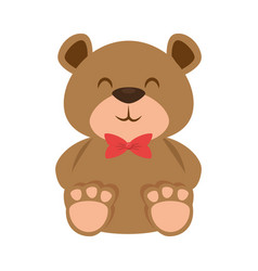 Cute bear teddy with bowtie vector