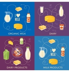 Dairy banners set with milk products vector image vector image