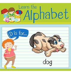 Flashcard letter D is for dog vector image vector image