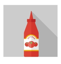 flat bottle with ketchup vector image vector image