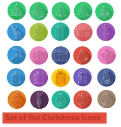 Flat icons christmas set vector image